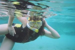 Miranda posing under water