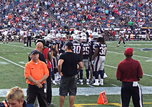 Huddle at the edge of the field